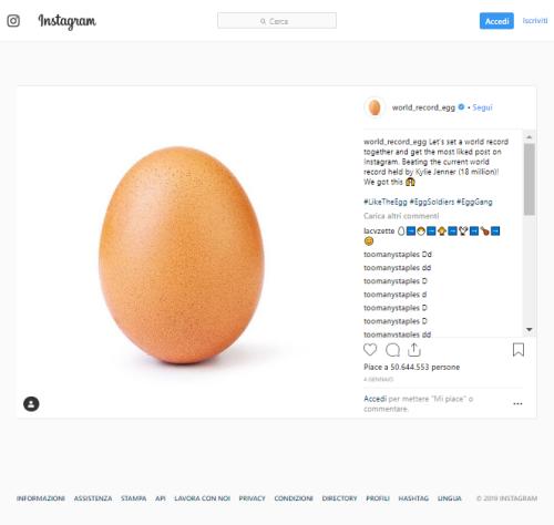 Uovo su Instagram